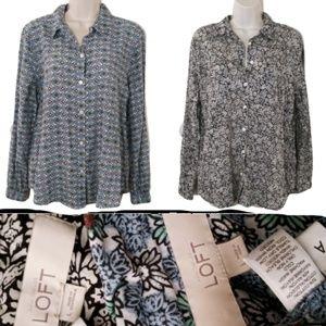 LOFT LOT of 2 Large  Button-Down Shirts Long Sleev